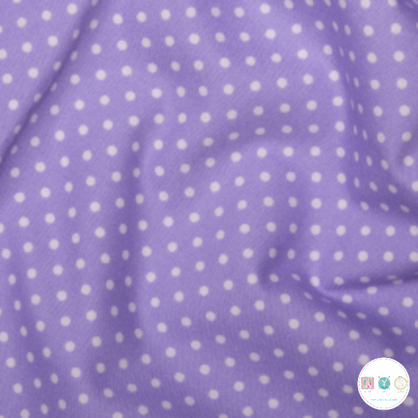 Lilac Purple Polka Dots -Spots Material - Cotton Poplin Fabric - by Rose & Hubble - Craft & Dressmaking