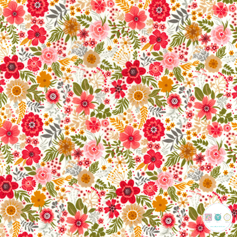 Modern Floral On Cream - Cotton Poplin Fabric - by Rose & Hubble - Craft & Dressmaking