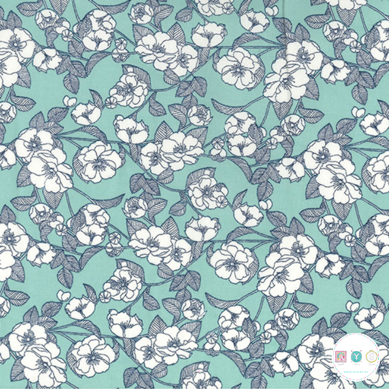 Sketch Flowers On Pale Blue - Cotton Poplin Fabric - by Rose & Hubble - Craft & Dressmaking