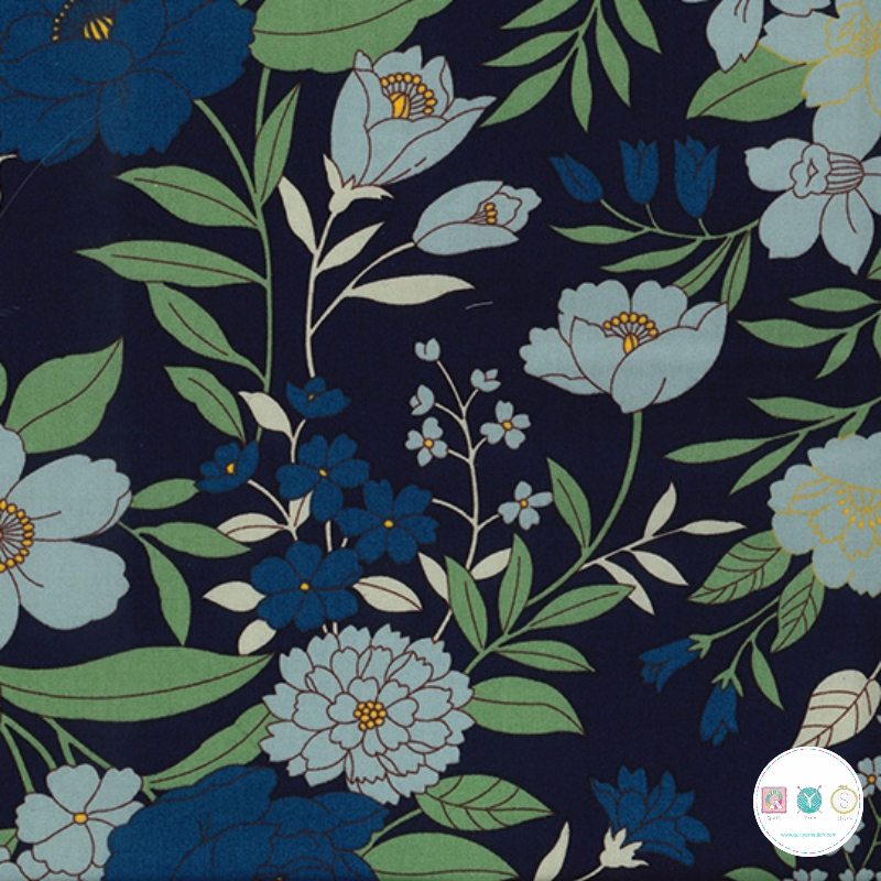 Large Sage Floral On Navy Poplin - Cotton Poplin Fabric - by Rose & Hubble - Craft & Dressmaking