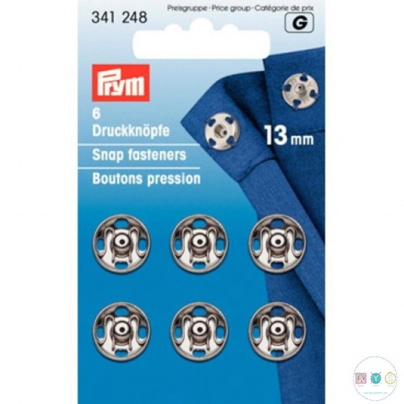 Prym Sew-On Snap Fasteners, 13mm, Pack of 6