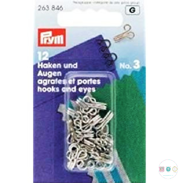 Prym Hook & Eye - No.3 - Silver - Sewing Accessory - Buttons and Fastenings