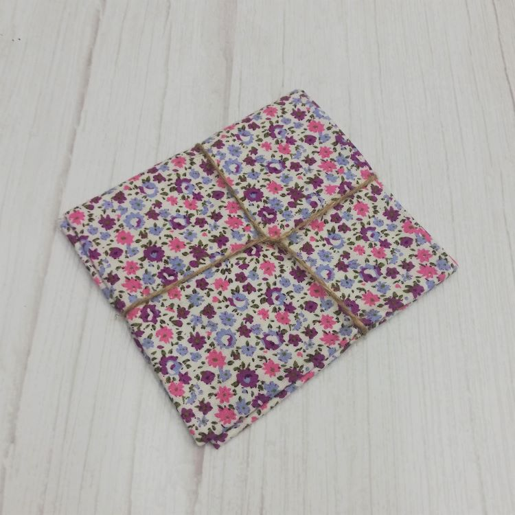 Quilting Fabric - Cotton Square with Ditsy Purple Floral On White by Sew Cool