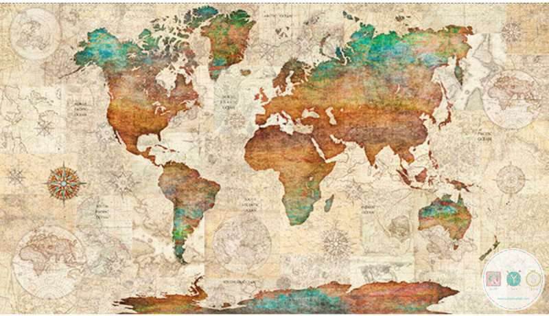Wanderlust - World Map Fabric Panel - QT 26726 X - Vintage Travel by ...