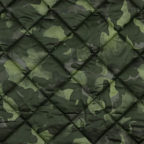 Quilted Fabric - Green Camouflage