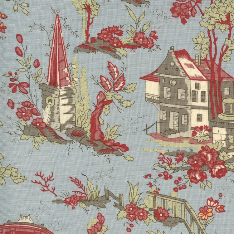 Quilting Fabric - Garden House and Flowers from Jardin De Fleurs by French General for Moda 13890 16