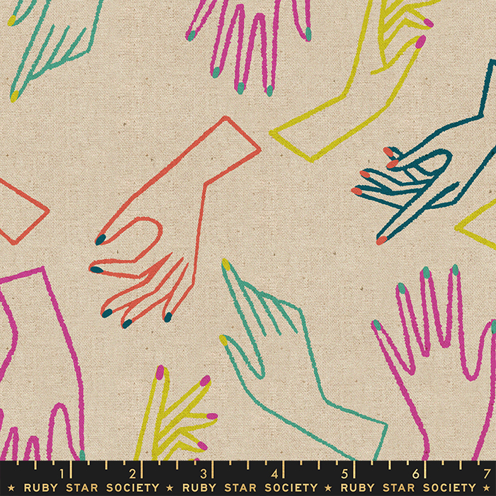 Cotton Canvas Fabric - with Colourful Hands on Natural from Adorn by Rashida Coleman Hale for Ruby Star Society RS1025 12L