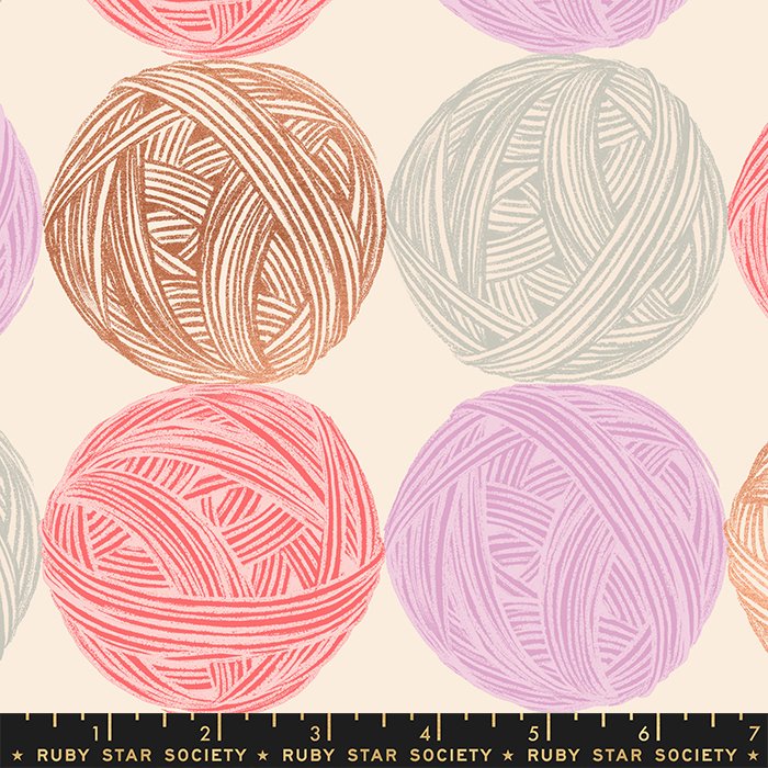 Cotton Canvas Fabric - with Balls of Yarn on Natural with Metallic Accents from Purl by Sarah Watts for Ruby Star Society RS2039 11LM