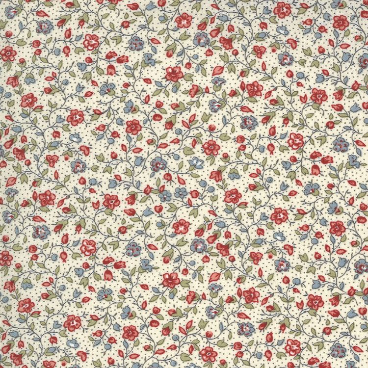 Quilting Fabric - Small Floral on Cream from Jardin De Fleurs by French General for Moda 13895 15