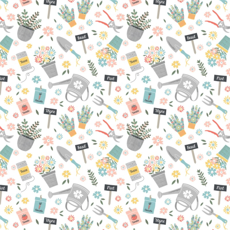 Quilting Fabric - Gardening Tools from the Wish For Rain Collection by Camelot Fabrics