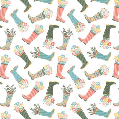 Quilting Fabric - Wellies from the Wish For Rain Collection by Camelot Fabrics