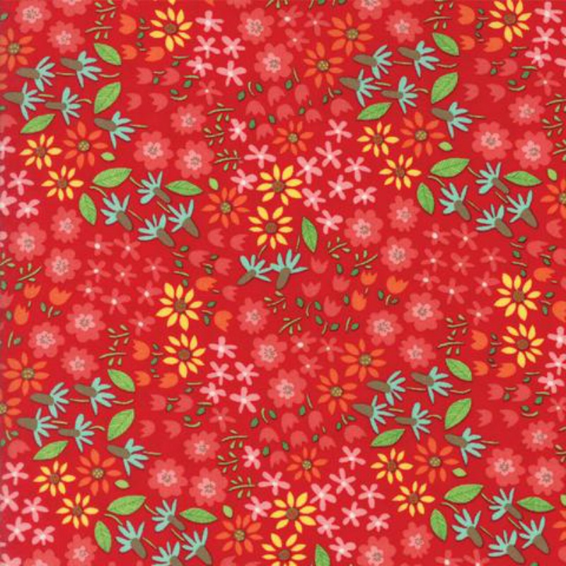 Farm Fun Flowers- Red Floral Cotton Material by Stacy Iest Hsu for Moda Fabrics - Patchwork & Quiltin