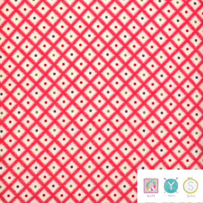 Red Diamond Check Fabric - Hop, Skip and a Jump by American Jane for Moda Fabric