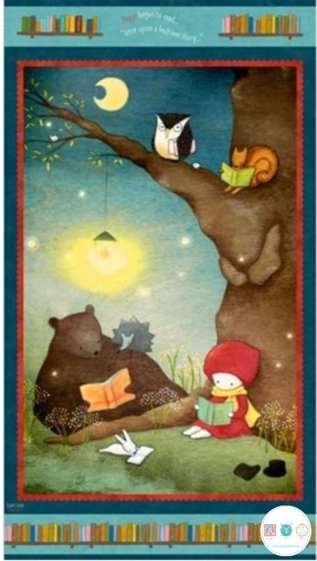 Reading Together - Poppi Loves - Character Cotton Santoro Panel - by Quilting Treasures - Patchwork