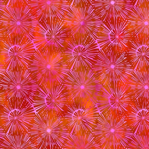 Dandelion on Red Fabric - Urban Jungle by In The Beginning Fabrics