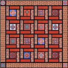 Red Celtic Squares Quilt Top Kit - Designed by Sally Ablett for Fabric Freedom