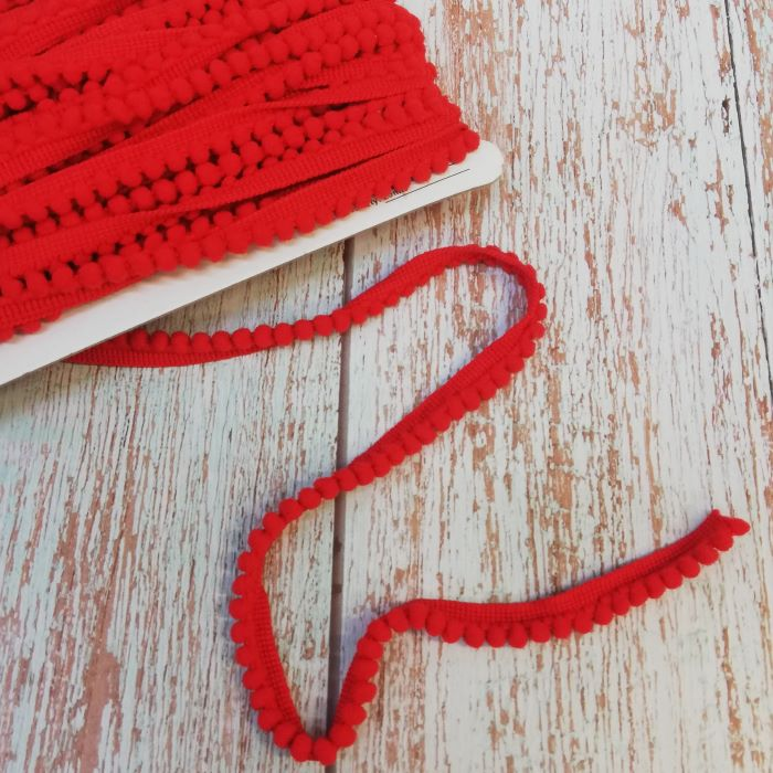 10mm Red Mini Pom Pom Trim