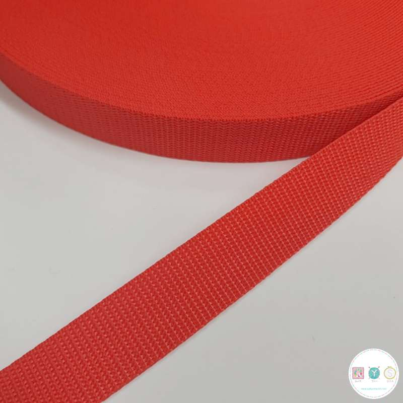 25mm Red Polypropylene Webbing - Bag Strapping - Haberdashery