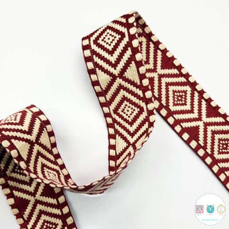 Aztec Braid Wine Red - 1.5