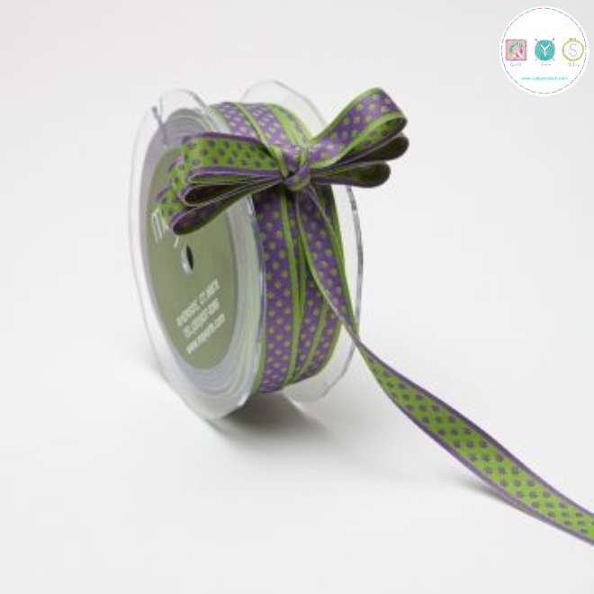 Green Dots on Purple Ribbon - Double Sided - Reversible - Sewing Trim & Crafts - Price per yard