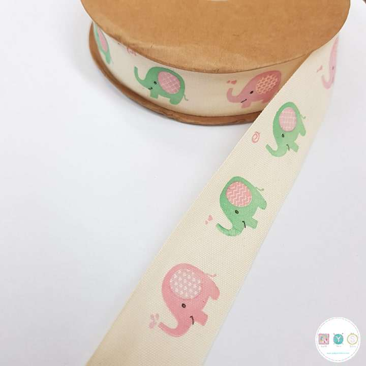 25mm Baby Elephants - Cotton Tape - Ribbon - Trim - Haberdashery