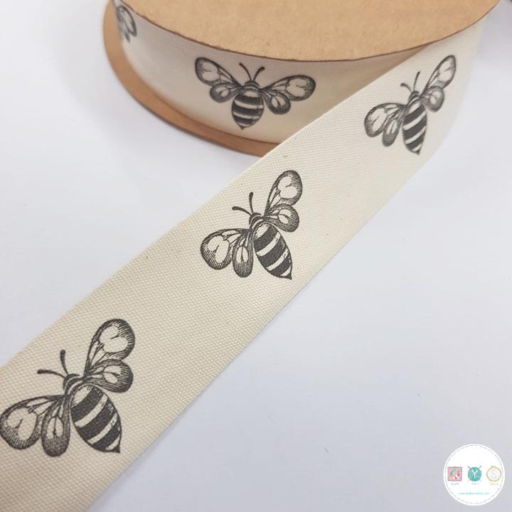 25mm Bumble Bee - Cotton Tape - Ribbon - Trim - Haberdashery