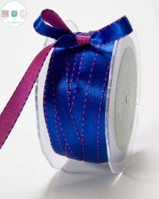 Royal Blue & Fuchsia Pink - Double Sided - Reversible - Satin Ribbon - Trim - Haberdashery