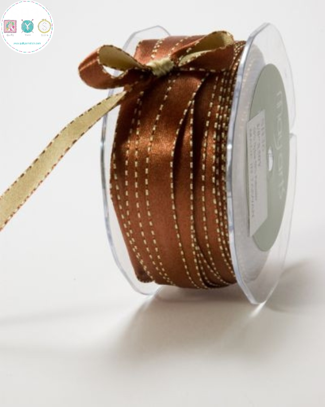 Brown & Gold  - Double Sided - Reversible - Satin Ribbon - Trim - Haberdashery