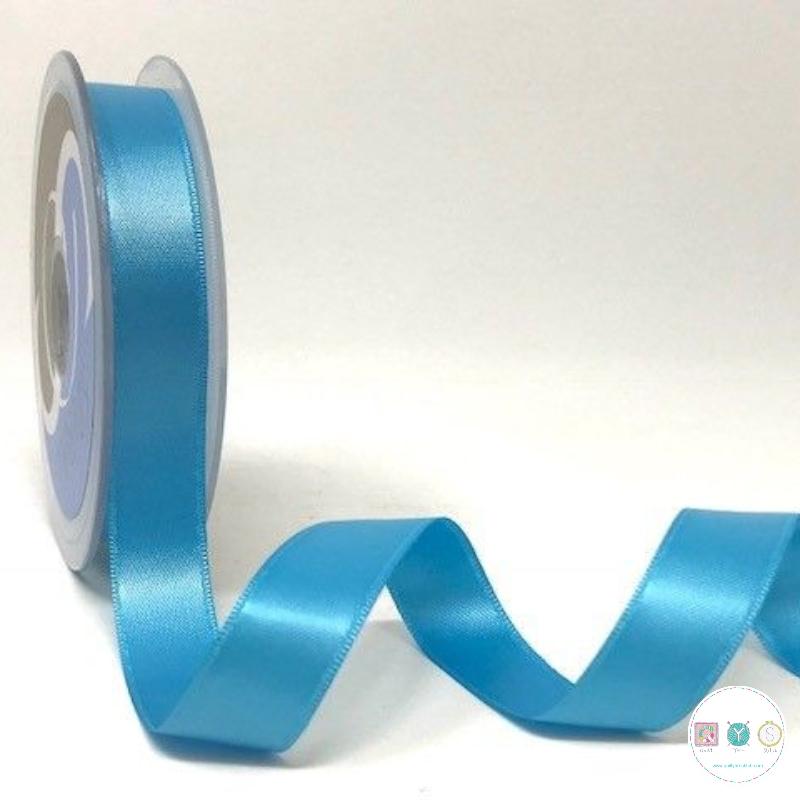 Turquoise Satin Ribbon - Blue - 15mm - Trim - Haberdashery