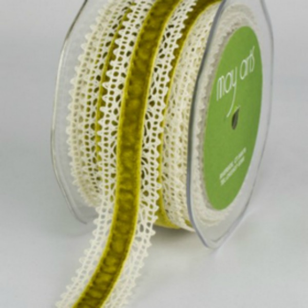 Green Velvet Lace - 22mm - Trim - Haberdashery
