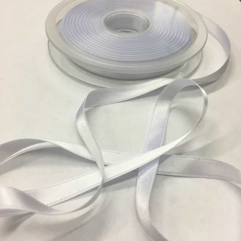 White Satin Ribbon - 8mm - Polyester - Trim - Haberdashery