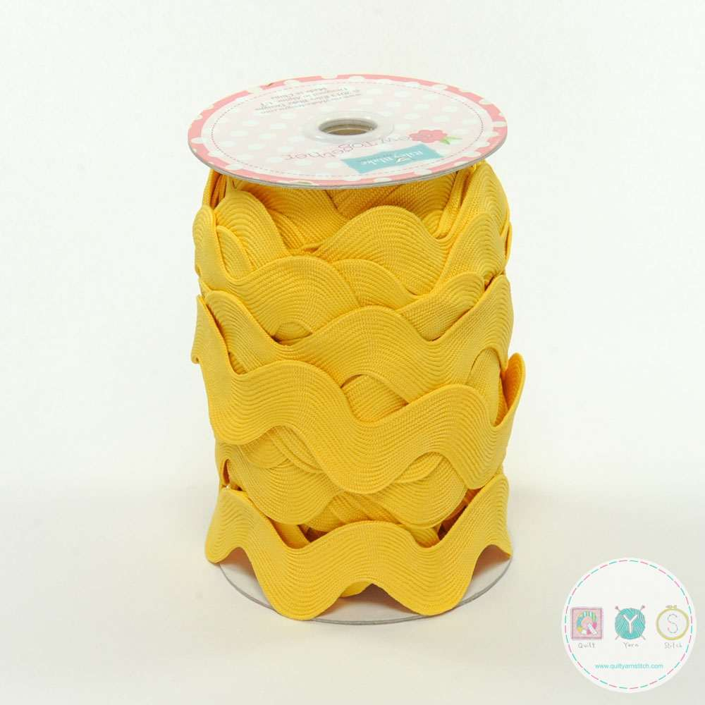 Riley Blake Yellow Jumbo Ric Rac - Trim for Fabric Projects - Polyester Embellishment - Haberdashery