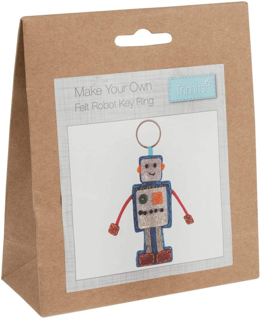Make Your Own Robot - Hanging Decoration Kit - Keyring - Beginners Craft Childrens Kit - by Trimits