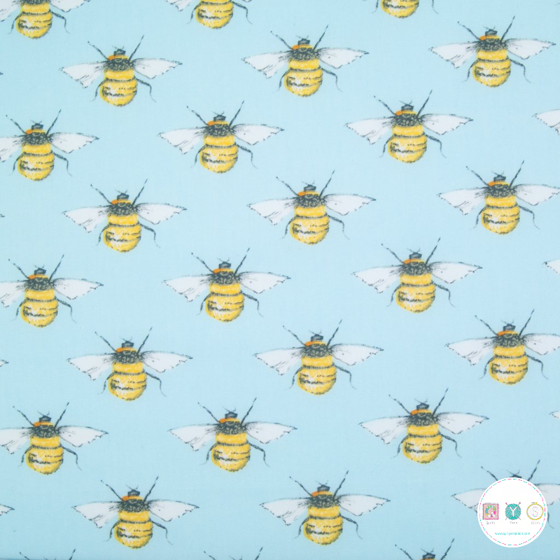 Bumble Bee by Rose & Hubble - 100% Cotton Poplin - Sky Blue - Patchwork & Quilting Fabric - Dressmaking