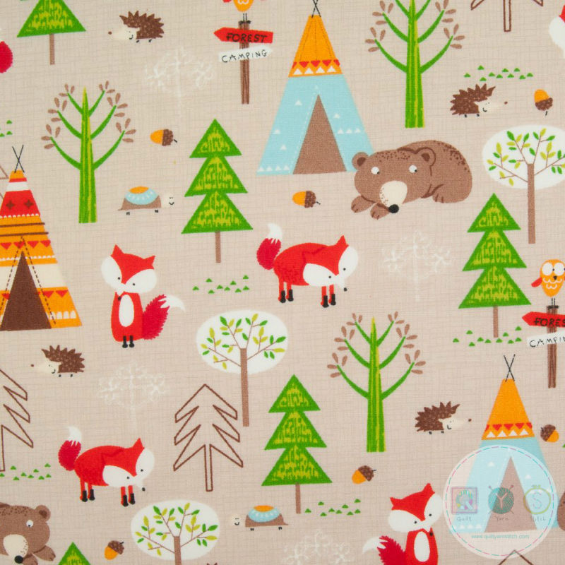 Woodland Animals Print Material - Cotton Poplin Fabric by Rose and Hubble