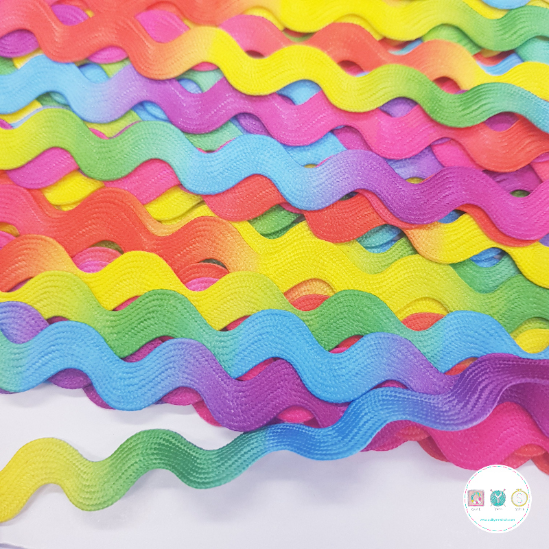 Rainbow Ric Rac Trim for Fabric Projects - Polyester Embellishment - Haberdashery