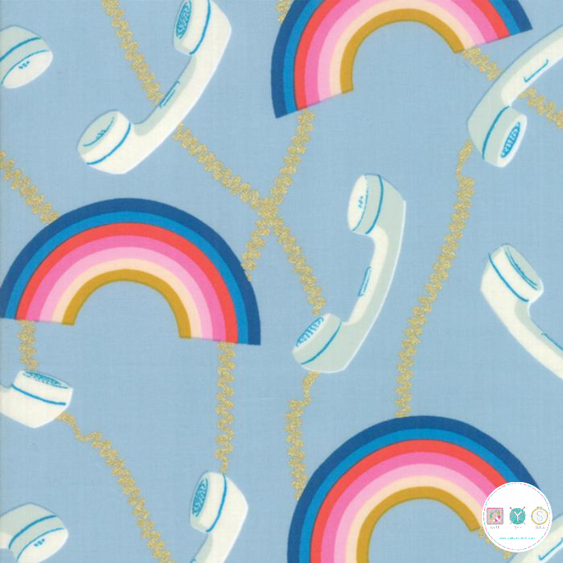 Ruby Star Society - Social - Rainbow Telephones - Blue Cotton Fabric - by Melody Miller for Moda Fabrics - Patchwork & Quilting