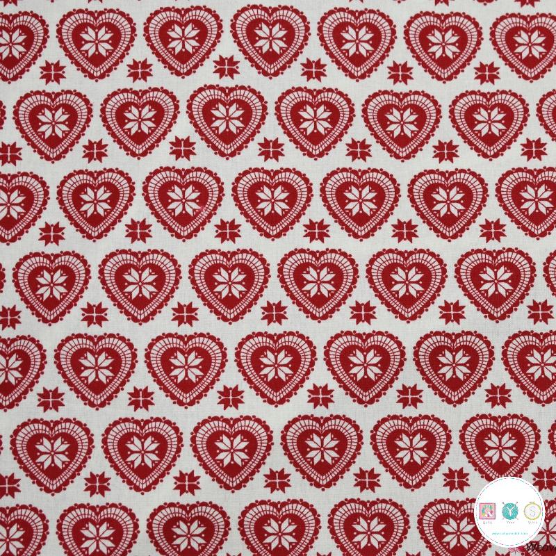 Scandi Hearts - Christmas - Cotton Poplin Fabric - by Rose & Hubble - Craft & Dressmaking