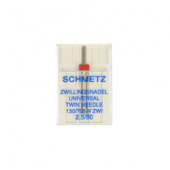 Schmetz Universal Twin Needle 2.5mm Uncarded