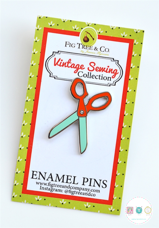 Retro Scissors Enamel Pin - by Fig Tree & Co - Sewing Theme Gifts