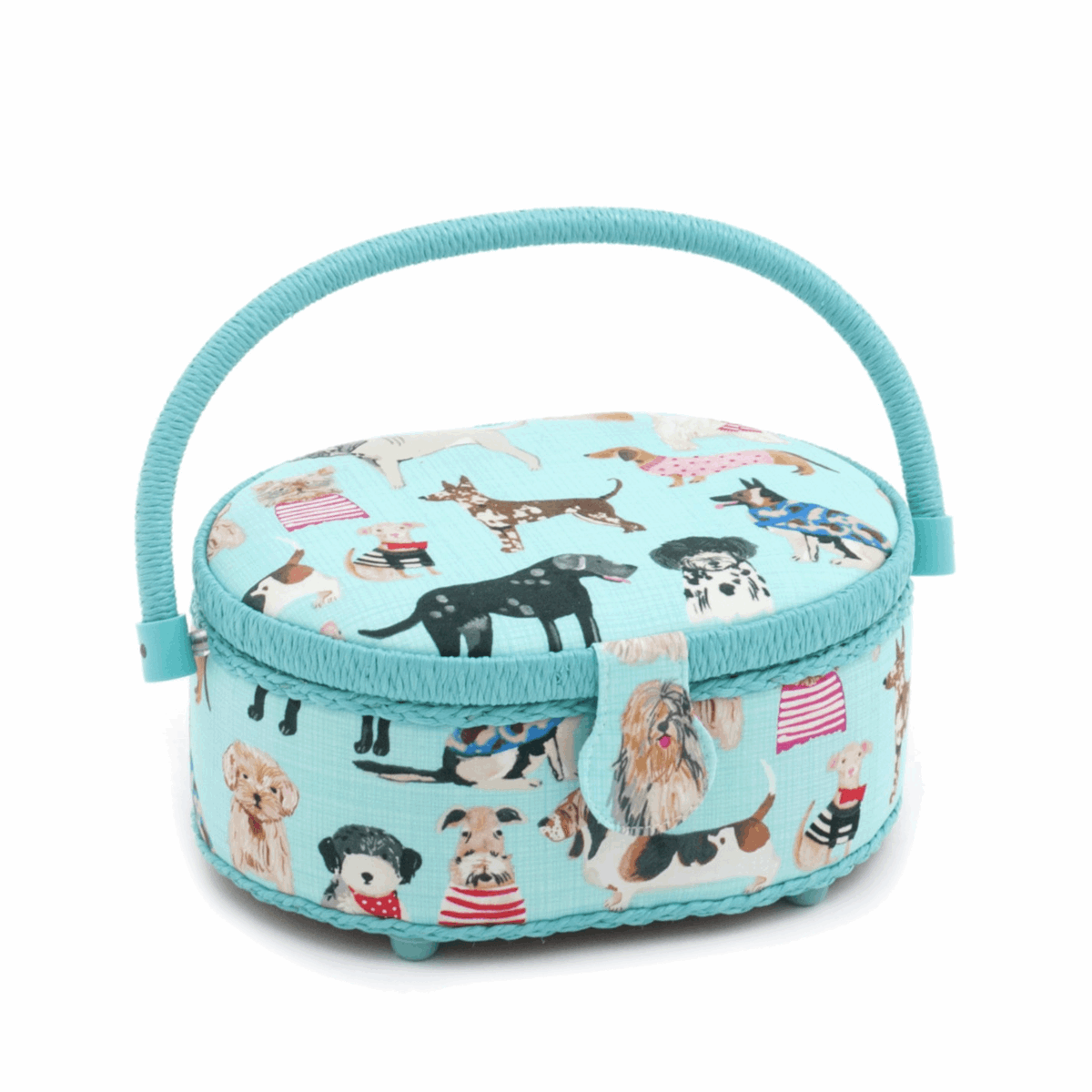 Dogs in Jumpers Small Oval Sewing Box