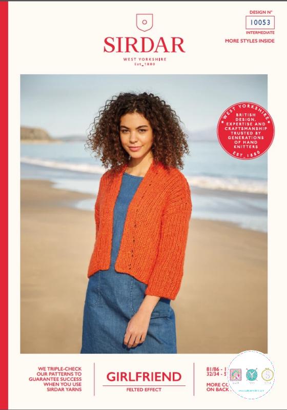 Sirdar 10053 - Girlfriend Chunky Cardigan Pattern  - Ladies Knitting Pattern