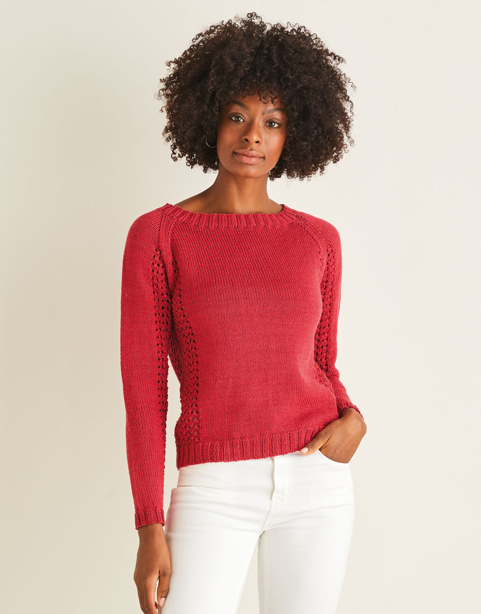 Knitting Pattern - Sweater with Lace Side Pane in Cotton DK