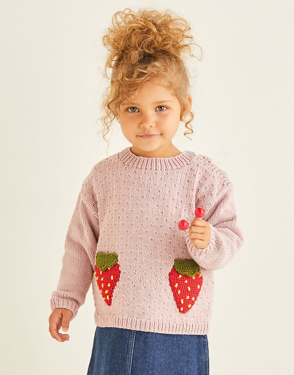 Knitting Pattern - Sirdar 2570 DK Strawberry Sweater in Snuggly Replay