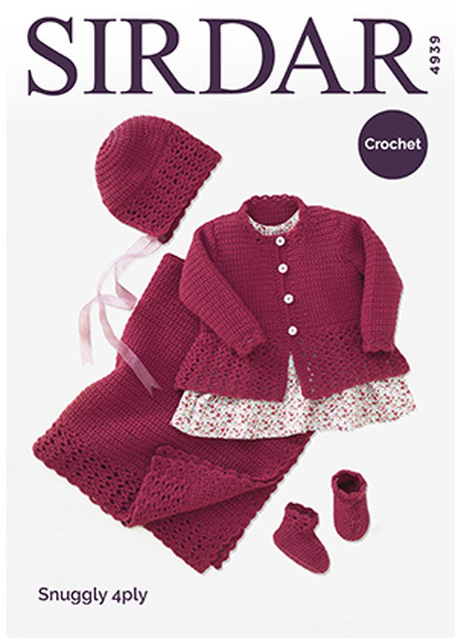 Sirdar 4939 - Blanket, Jacket, Hat & Bootees - 4 Ply Baby Set - Crochet Pattern