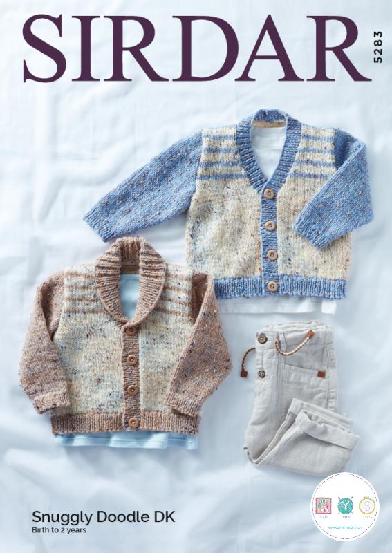 Sirdar knitting pattern 5283 - Babies Cardigans in Snuggly Doodle DK yarn