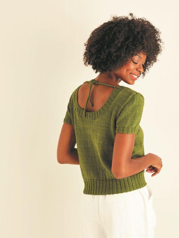Knitting Pattern - Scoop Neck, Tie Back Top in Cotton DK - Sirdar 10115