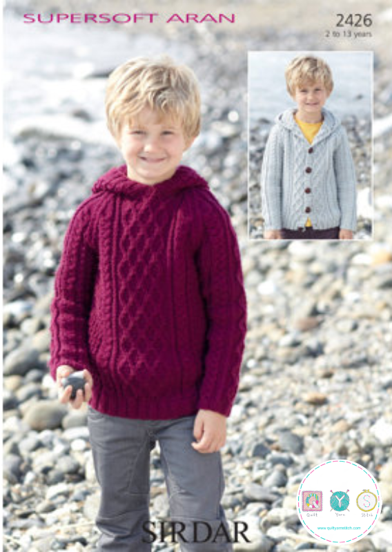 Sirdar 2426 Supersoft Aran Boys Jumper And Cardigan Childrens