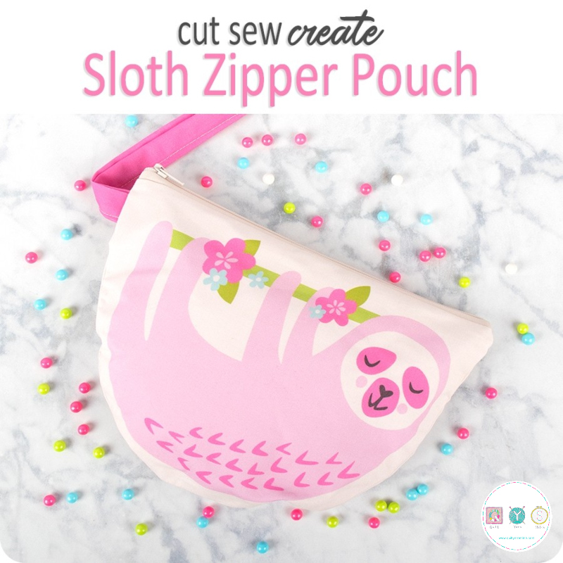 Sloth Zipper Pouch Cut, Sew, Create Pre-Cut Panel - Childrens Creating Kit - Kits & Gifts