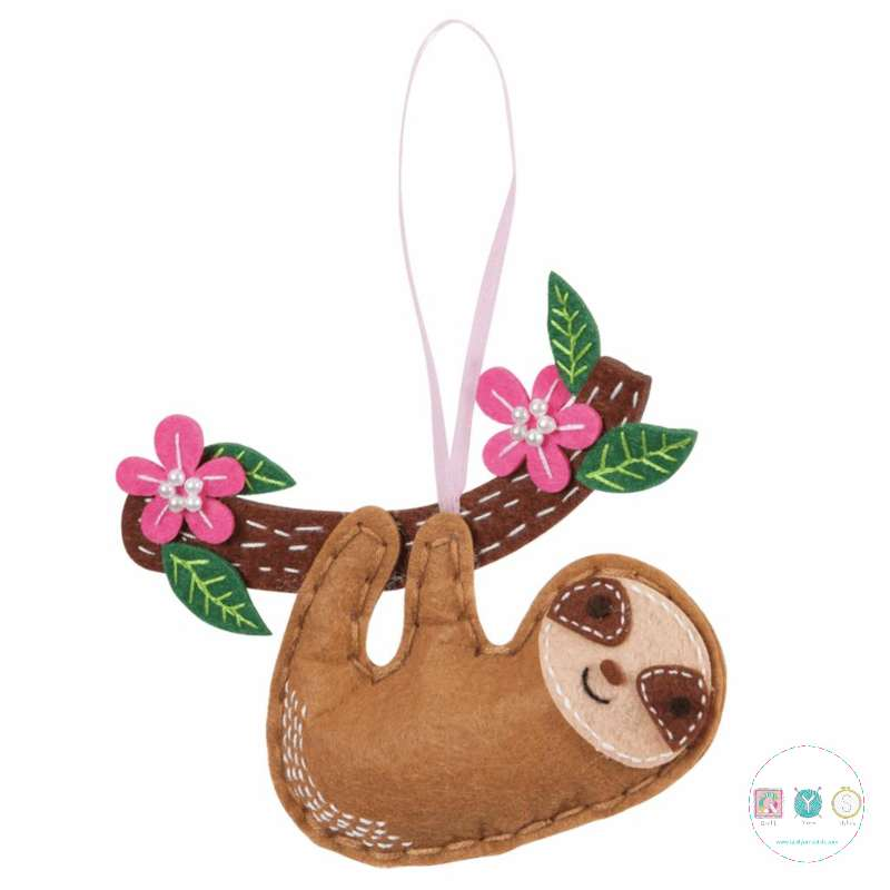 Make Your Own Felt Sloth Ornament - Christmas Tree Decoration - Beginners Festive Crafty Childrens Kit - by Trimits